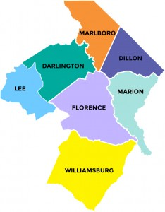 List of seven counties in Pee Dee Country South Carolina
