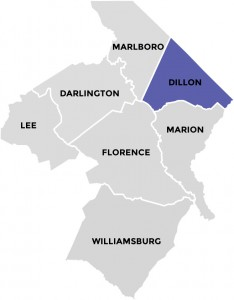 Dillon County in Pee Dee Country South Carolina